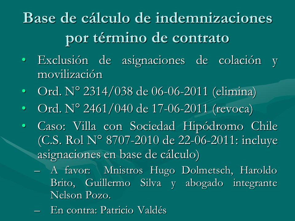 Base de cálculo de indemnizaciones por término de contrato Exclusión de asignaciones de colación y movilizaciónExclusión de asignaciones de colación y