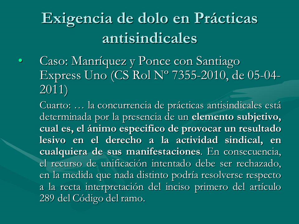 Exigencia de dolo en Prácticas antisindicales Caso: Manríquez y Ponce con Santiago Express Uno (CS Rol Nº 7355-2010, de 05-04- 2011)Caso: Manríquez y Ponce con Santiago Express Uno (CS Rol Nº 7355-2010, de 05-04- 2011) Cuarto: … la concurrencia de prácticas antisindicales está determinada por la presencia de un elemento subjetivo, cual es, el ánimo especifico de provocar un resultado lesivo en el derecho a la actividad sindical, en cualquiera de sus manifestaciones.