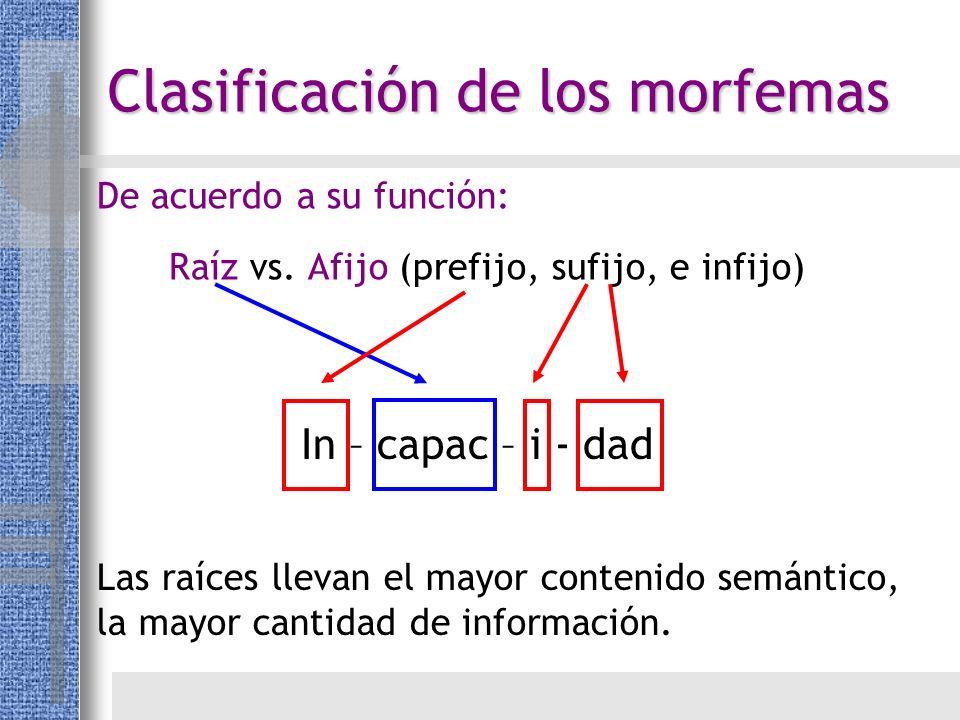Raíz vs. Afijo (prefijo, sufijo, e infijo) Las raíces llevan el mayor contenido semántico, la mayor cantidad de información. De acuerdo a su función: