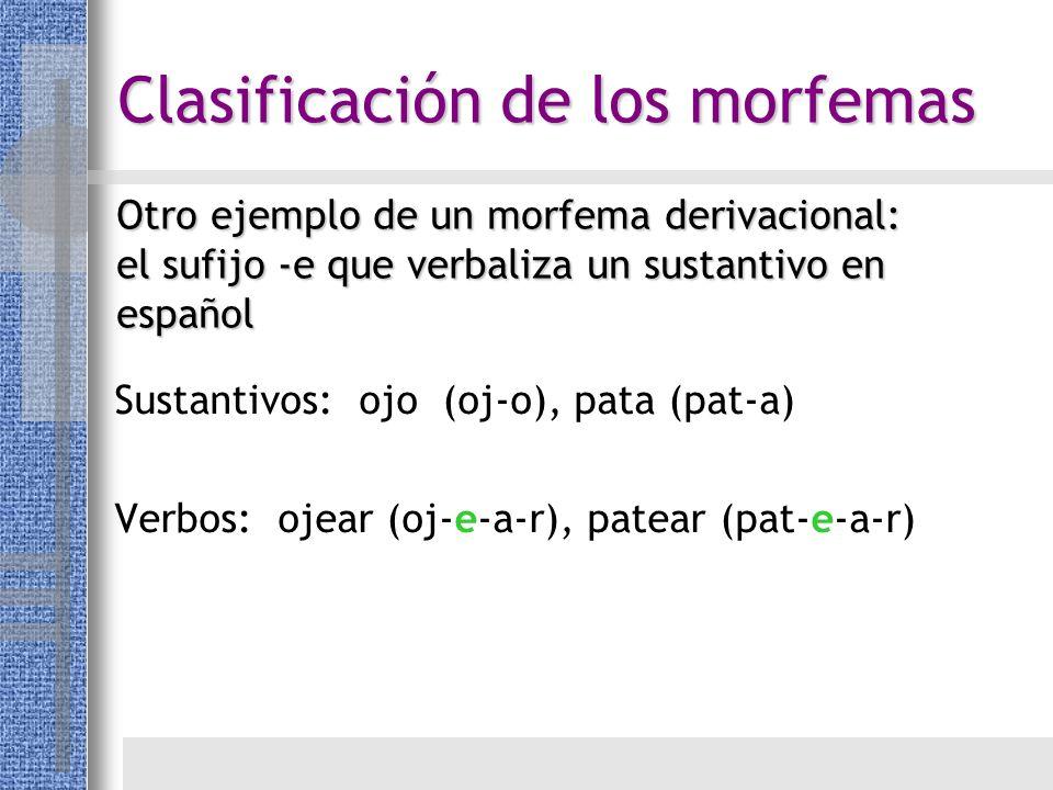 Otro ejemplo de un morfema derivacional: el sufijo -e que verbaliza un sustantivo en español Sustantivos: ojo (oj-o), pata (pat-a) Verbos: ojear (oj-e
