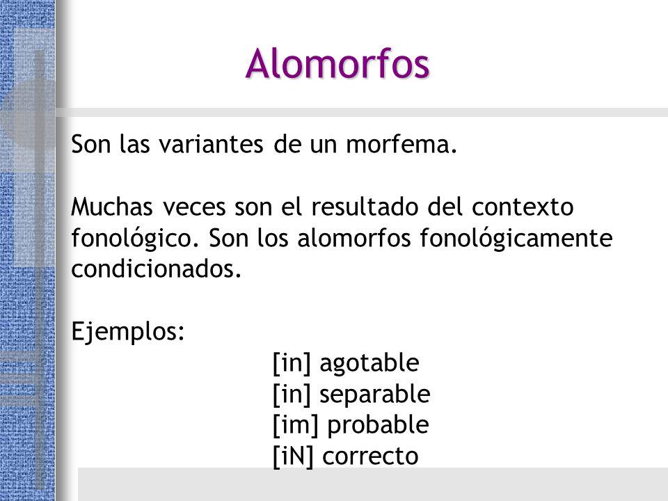 Alomorfos Son las variantes de un morfema. Muchas veces son el resultado del contexto fonológico. Son los alomorfos fonológicamente condicionados. Eje