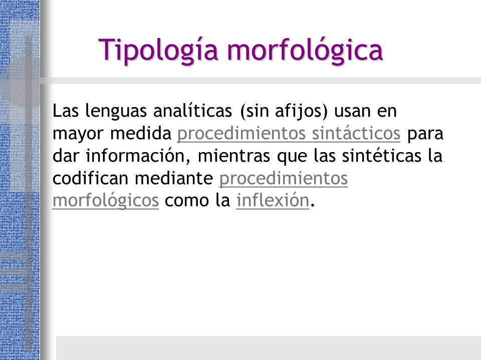 Las lenguas analíticas (sin afijos) usan en mayor medida procedimientos sintácticos para dar información, mientras que las sintéticas la codifican med