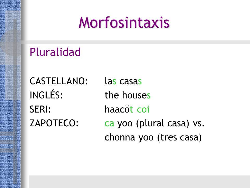 Pluralidad CASTELLANO:las casas INGLÉS:the houses SERI:haacöt coi ZAPOTECO:ca yoo (plural casa) vs. chonna yoo (tres casa) Morfosintaxis
