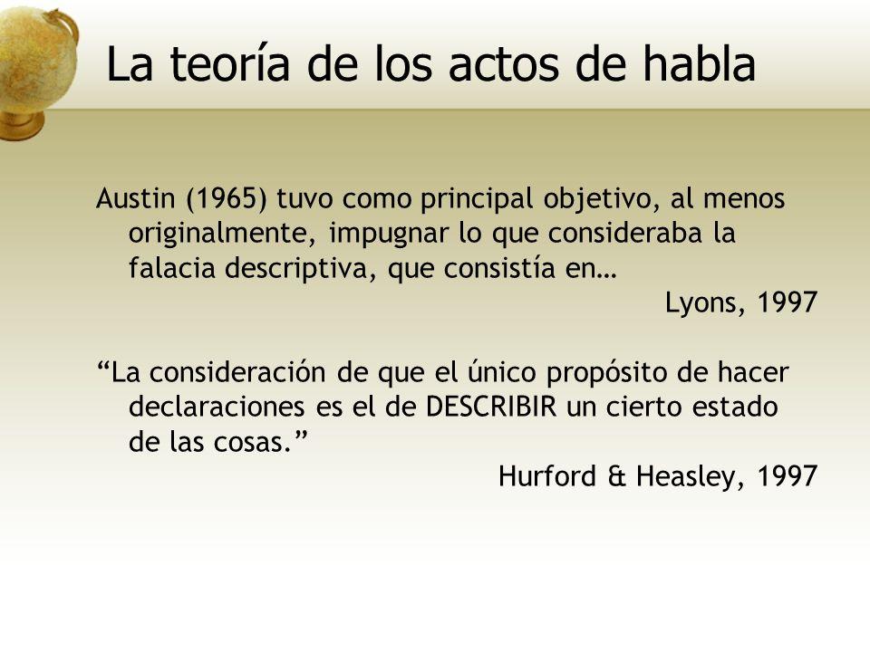 Austin (1965) tuvo como principal objetivo, al menos originalmente, impugnar lo que consideraba la falacia descriptiva, que consistía en… Lyons, 1997
