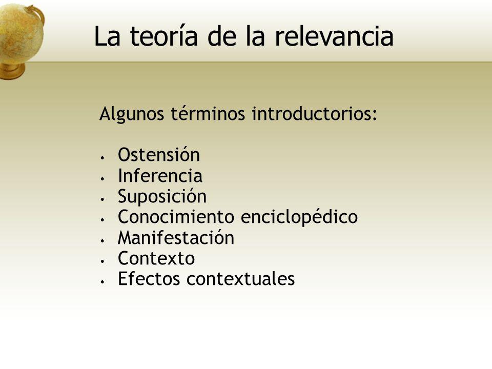 Algunos términos introductorios: Ostensión Inferencia Suposición Conocimiento enciclopédico Manifestación Contexto Efectos contextuales La teoría de l