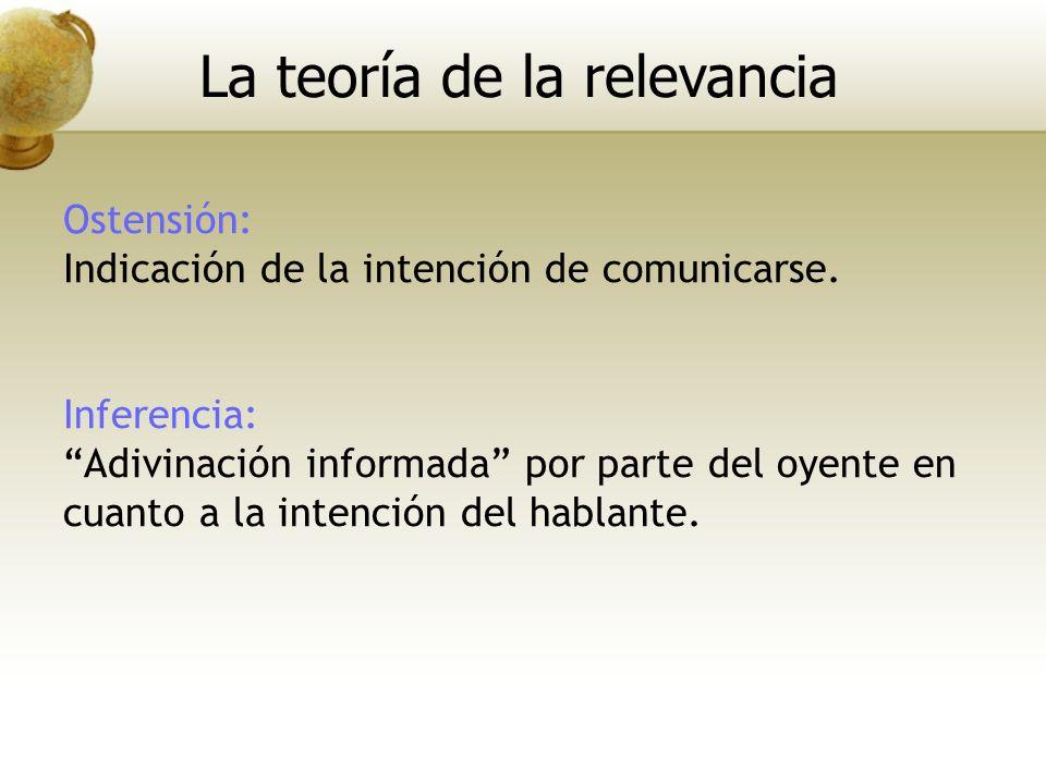 Ostensión: Indicación de la intención de comunicarse. Inferencia: Adivinación informada por parte del oyente en cuanto a la intención del hablante. La