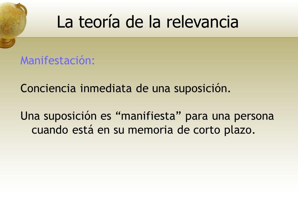 Manifestación: Conciencia inmediata de una suposición. Una suposición es manifiesta para una persona cuando está en su memoria de corto plazo. La teor