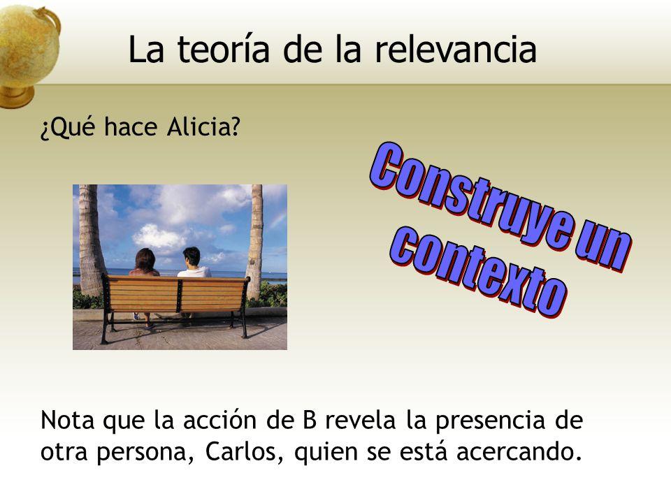 ¿Qué hace Alicia? Nota que la acción de B revela la presencia de otra persona, Carlos, quien se está acercando. La teoría de la relevancia