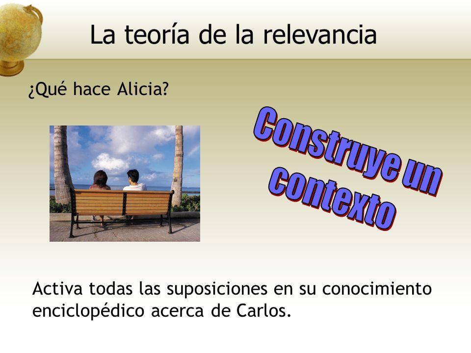 Activa todas las suposiciones en su conocimiento enciclopédico acerca de Carlos. La teoría de la relevancia ¿Qué hace Alicia?