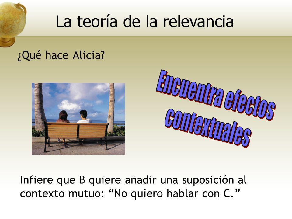 Infiere que B quiere añadir una suposición al contexto mutuo: No quiero hablar con C. La teoría de la relevancia ¿Qué hace Alicia?