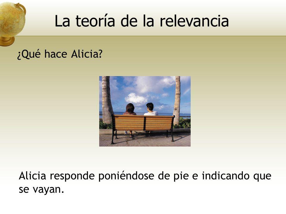 Alicia responde poniéndose de pie e indicando que se vayan. La teoría de la relevancia ¿Qué hace Alicia?