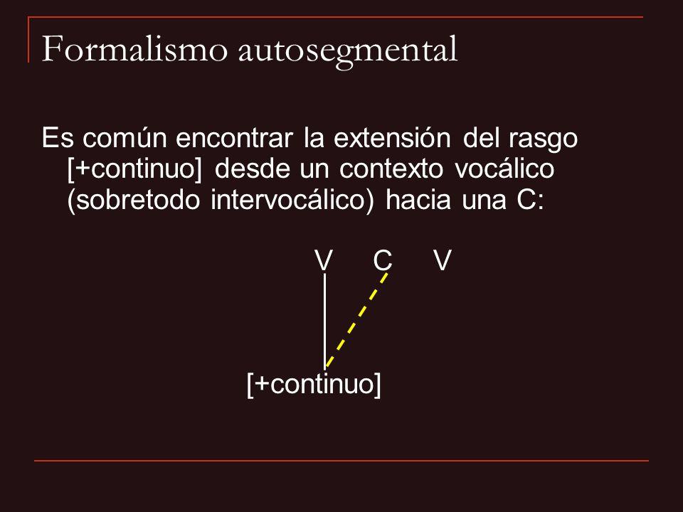 Formalismo autosegmental Es común encontrar la extensión del rasgo [+continuo] desde un contexto vocálico (sobretodo intervocálico) hacia una C: V C V