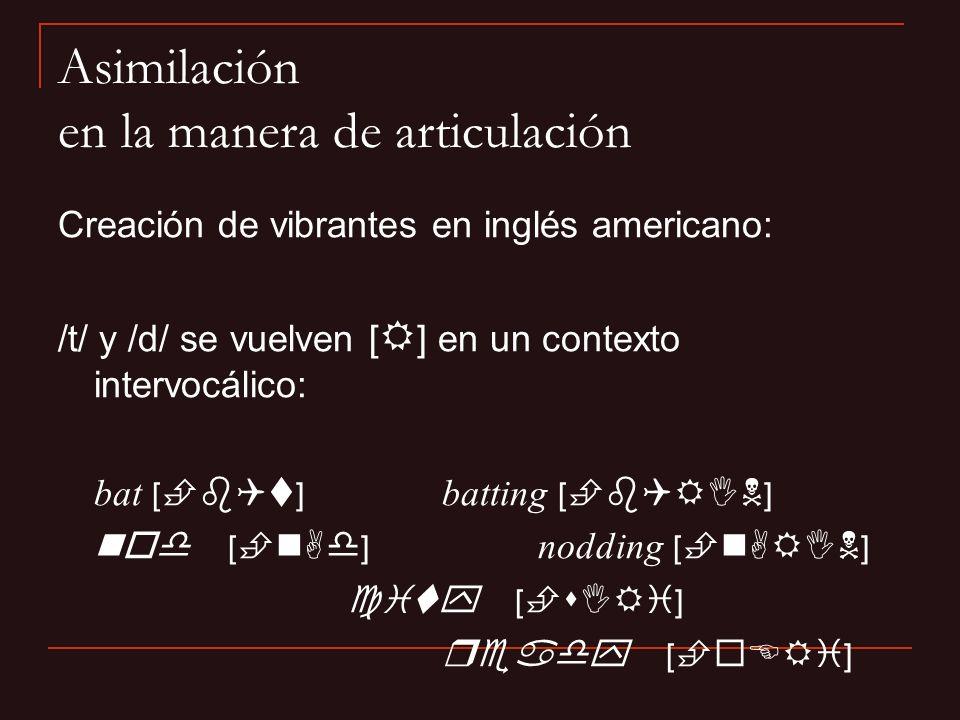 Creación de vibrantes en inglés americano: /t/ y /d/ se vuelven [ R ] en un contexto intervocálico: bat [ b t ] batting [ b RIN ] nod [ n d ] nodding