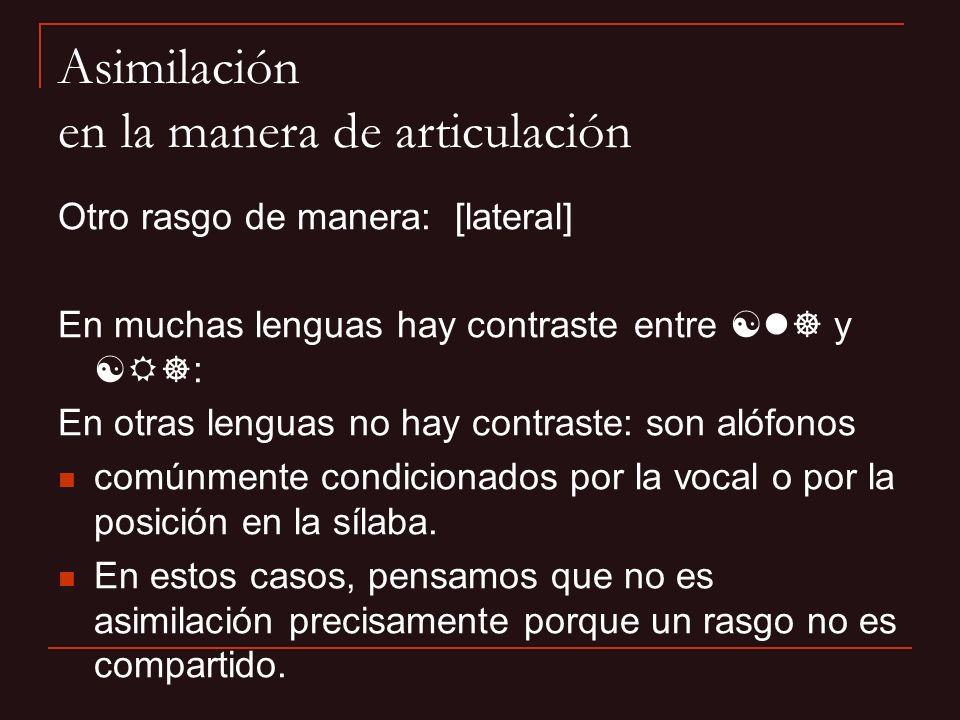 Otro rasgo de manera: [lateral] En muchas lenguas hay contraste entre [l] y [ ]: En otras lenguas no hay contraste: son alófonos comúnmente condiciona