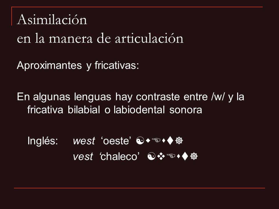 Aproximantes y fricativas: En algunas lenguas hay contraste entre /w/ y la fricativa bilabial o labiodental sonora Inglés:west oeste [wEst] vest chale