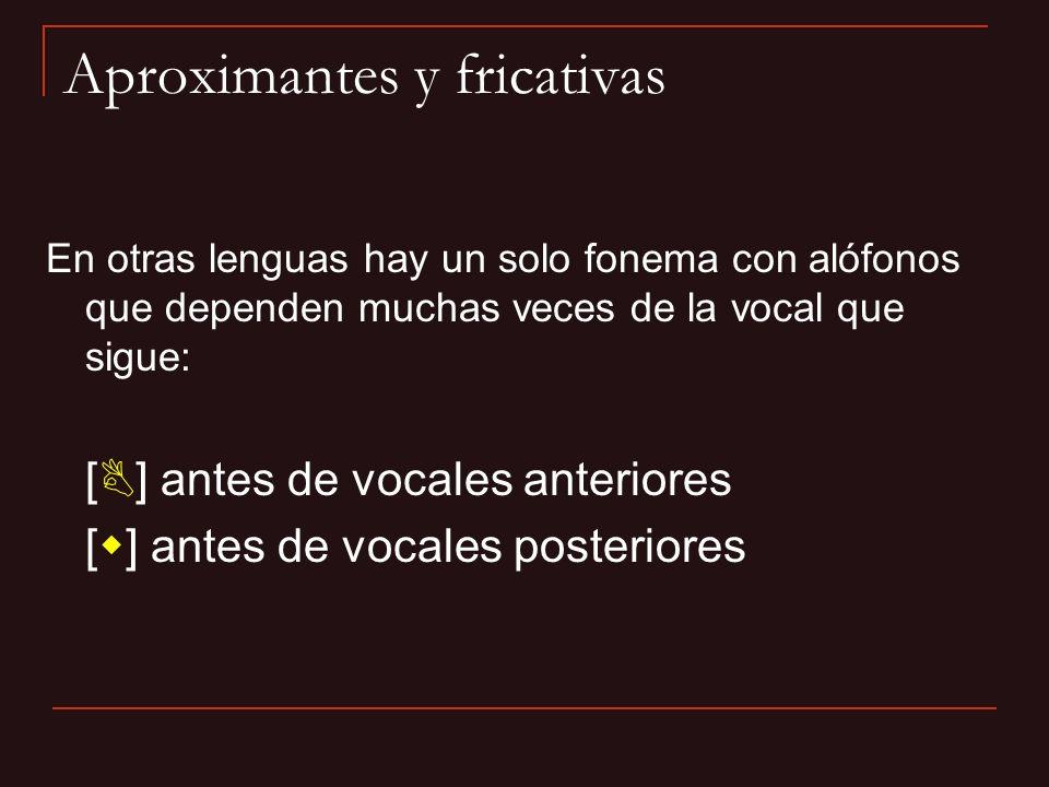 Aproximantes y fricativas En otras lenguas hay un solo fonema con alófonos que dependen muchas veces de la vocal que sigue: [B] antes de vocales anter
