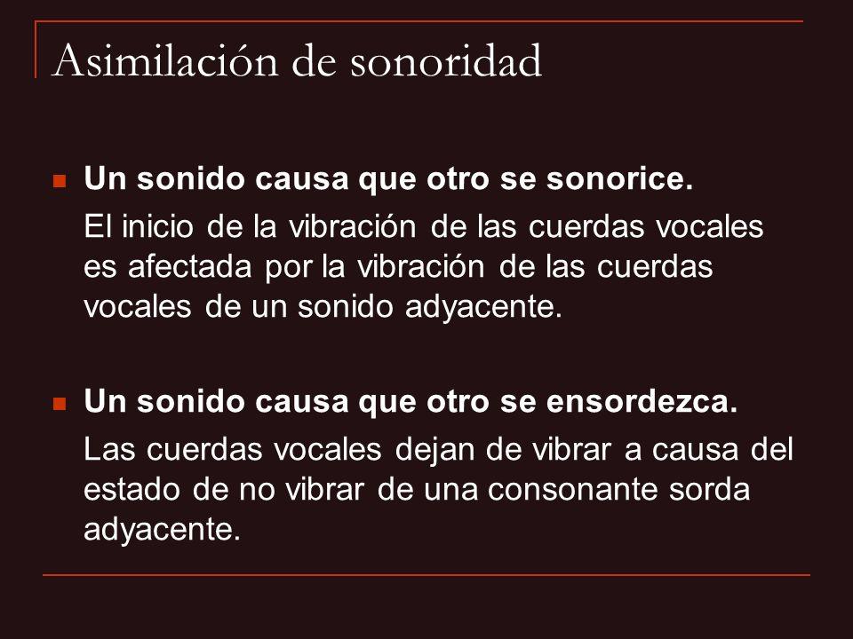 Los contextos que fácilmente pueden provocar la sonorización de una consonante son: una posición adyacente a una consonante sonora (oclusiva sonora, resonante sonora, aproximante sonora); especialmente antes de tal sonido.