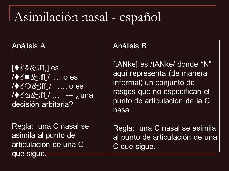 Análisis A [tANke] es /tAnke/ … o es /tAmke/ …. o es /tA ke/ … --- ¿una decisión arbitaria? Regla: una C nasal se asimila al punto de articulación de