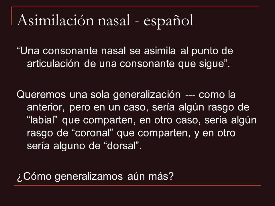 Una consonante nasal se asimila al punto de articulación de una consonante que sigue. Queremos una sola generalización --- como la anterior, pero en u