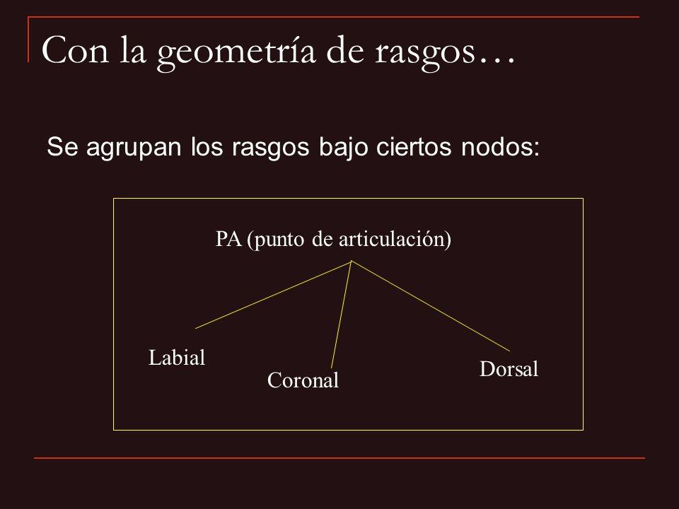Con la geometría de rasgos… Se agrupan los rasgos bajo ciertos nodos: PA (punto de articulación) Labial Coronal Dorsal