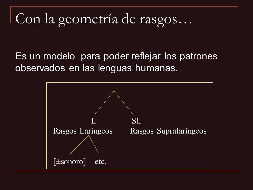 Es un modelo para poder reflejar los patrones observados en las lenguas humanas. Con la geometría de rasgos… L SL Rasgos Laríngeos Rasgos Supralarínge