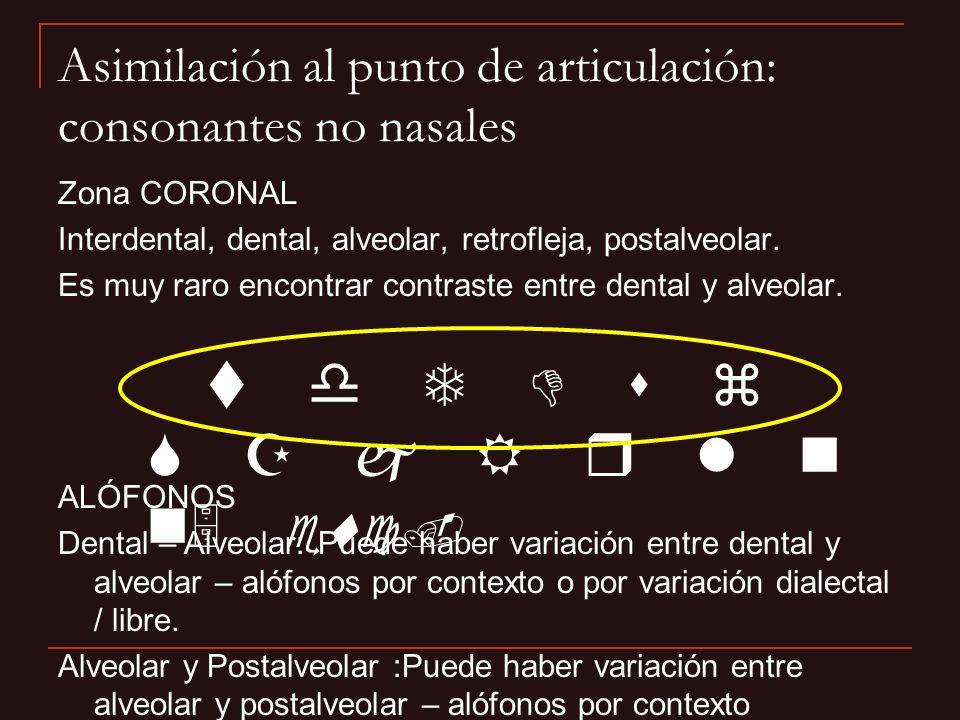 Zona CORONAL Interdental, dental, alveolar, retrofleja, postalveolar. Es muy raro encontrar contraste entre dental y alveolar. Asimilación al punto de