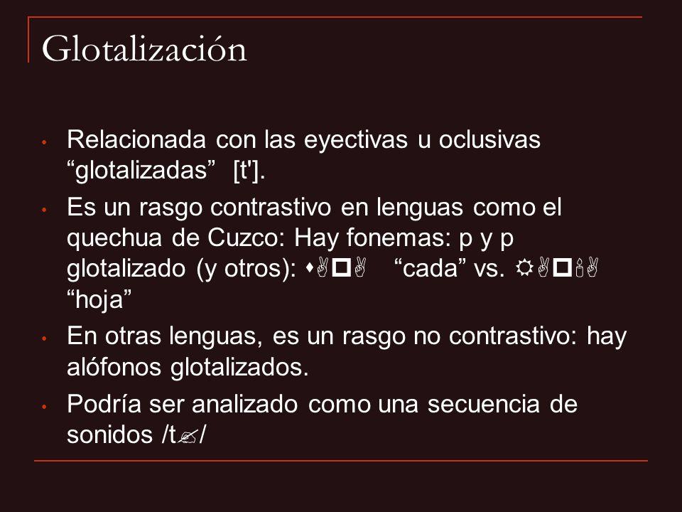 Glotalización Relacionada con las eyectivas u oclusivas glotalizadas [t']. Es un rasgo contrastivo en lenguas como el quechua de Cuzco: Hay fonemas: p