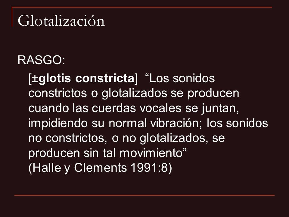 Glotalización RASGO: [±glotis constricta] Los sonidos constrictos o glotalizados se producen cuando las cuerdas vocales se juntan, impidiendo su norma