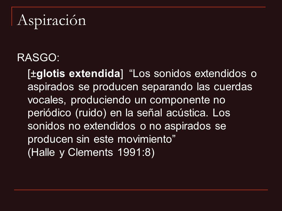 Aspiración RASGO: [±glotis extendida] Los sonidos extendidos o aspirados se producen separando las cuerdas vocales, produciendo un componente no perió