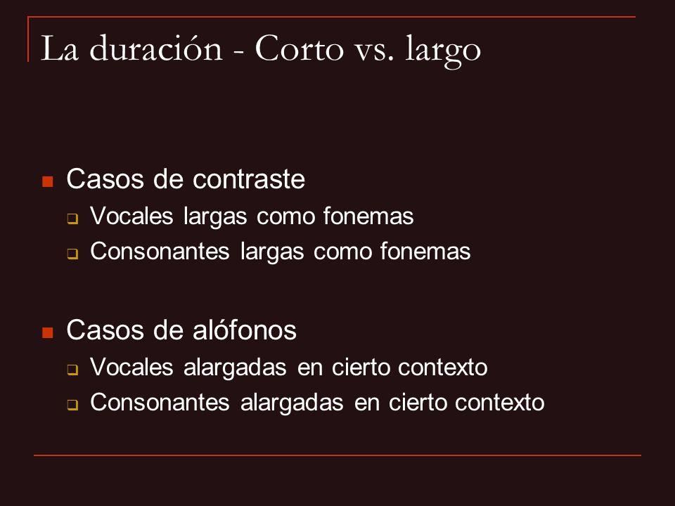La duración - Corto vs. largo Casos de contraste Vocales largas como fonemas Consonantes largas como fonemas Casos de alófonos Vocales alargadas en ci