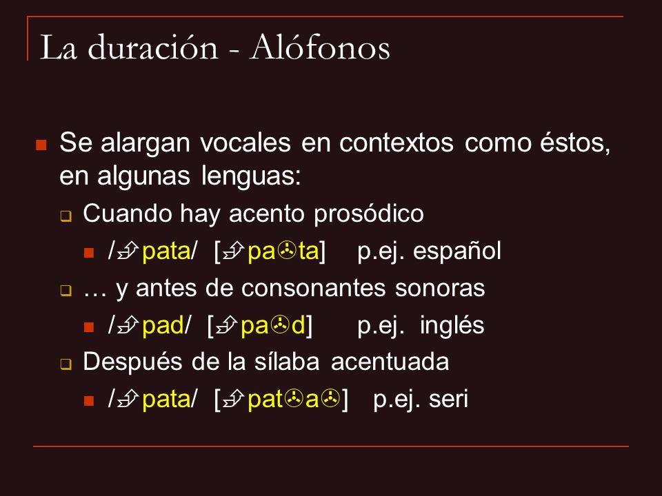 Se alargan vocales en contextos como éstos, en algunas lenguas: Cuando hay acento prosódico / pata/ [ pa ta] p.ej. español … y antes de consonantes so
