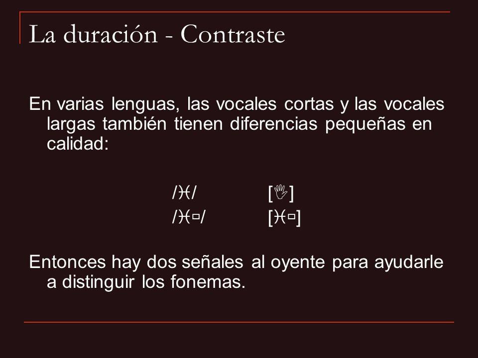En varias lenguas, las vocales cortas y las vocales largas también tienen diferencias pequeñas en calidad: /i/[I]/i/[I] /i /[i ] Entonces hay dos seña