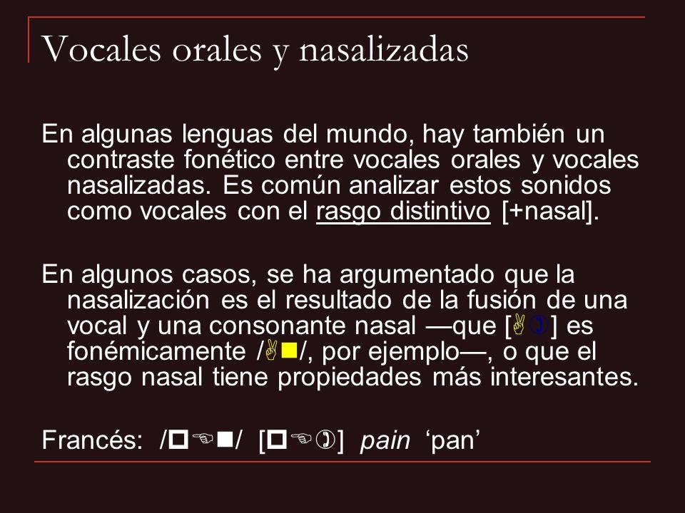 Vocales orales y nasalizadas En algunas lenguas del mundo, hay también un contraste fonético entre vocales orales y vocales nasalizadas. Es común anal