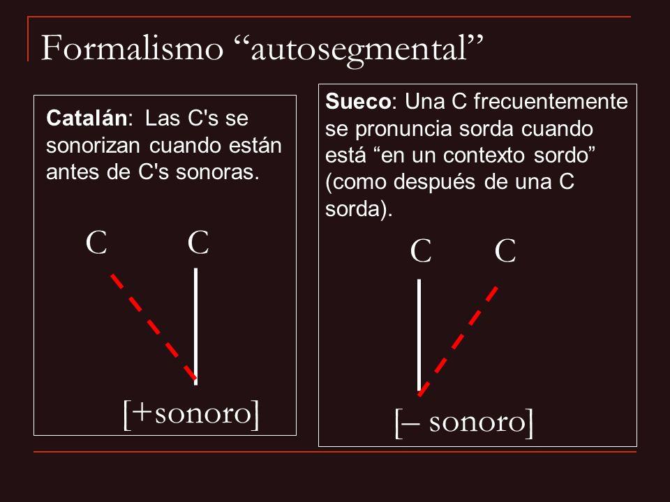 Formalismo autosegmental Catalán: Las C's se sonorizan cuando están antes de C's sonoras. C C [+sonoro] C C [– sonoro] Sueco: Una C frecuentemente se