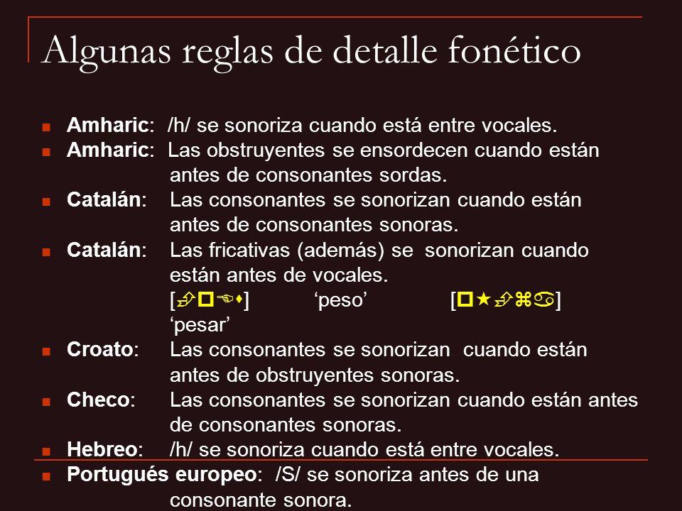 Gallego: Las fricativas / / y /s / se sonorizan optativamente, a veces sólo parcialmente, cuando están antes de consonantes sonoras.