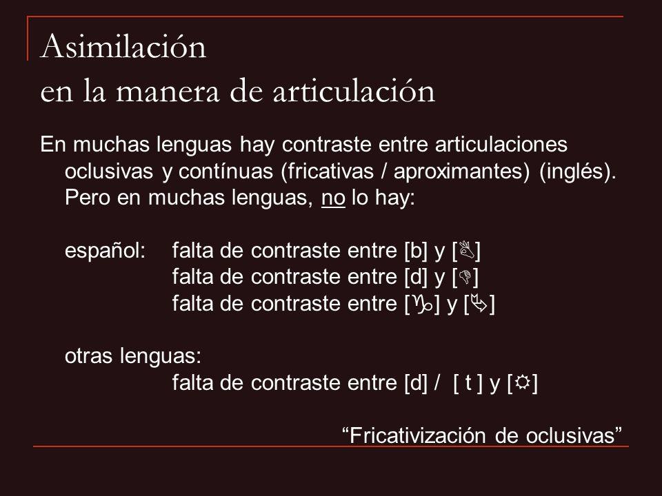 Asimilación en la manera de articulación En muchas lenguas hay contraste entre articulaciones oclusivas y contínuas (fricativas / aproximantes) (inglé