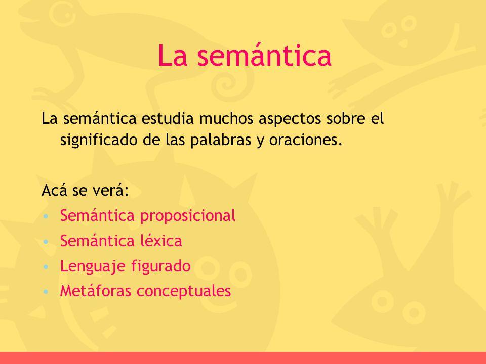La semántica estudia muchos aspectos sobre el significado de las palabras y oraciones. Acá se verá: Semántica proposicional Semántica léxica Lenguaje