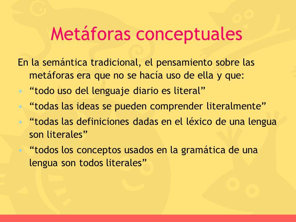 En la semántica tradicional, el pensamiento sobre las metáforas era que no se hacía uso de ella y que: todo uso del lenguaje diario es literal todas l