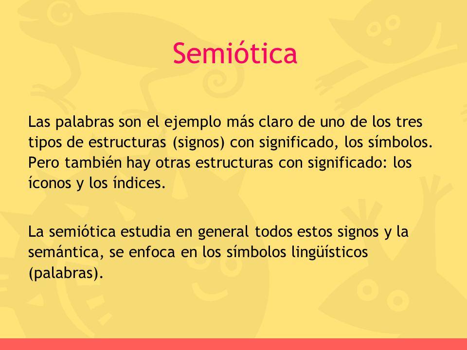 Semiótica Las palabras son el ejemplo más claro de uno de los tres tipos de estructuras (signos) con significado, los símbolos. Pero también hay otras