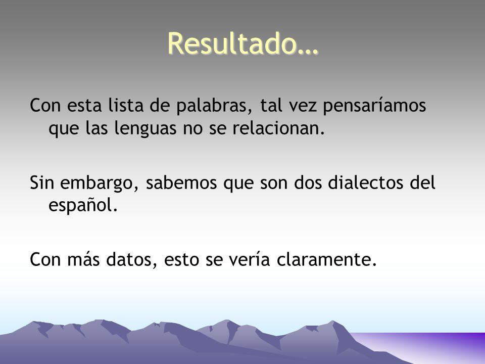 Resultado… Con esta lista de palabras, tal vez pensaríamos que las lenguas no se relacionan. Sin embargo, sabemos que son dos dialectos del español. C