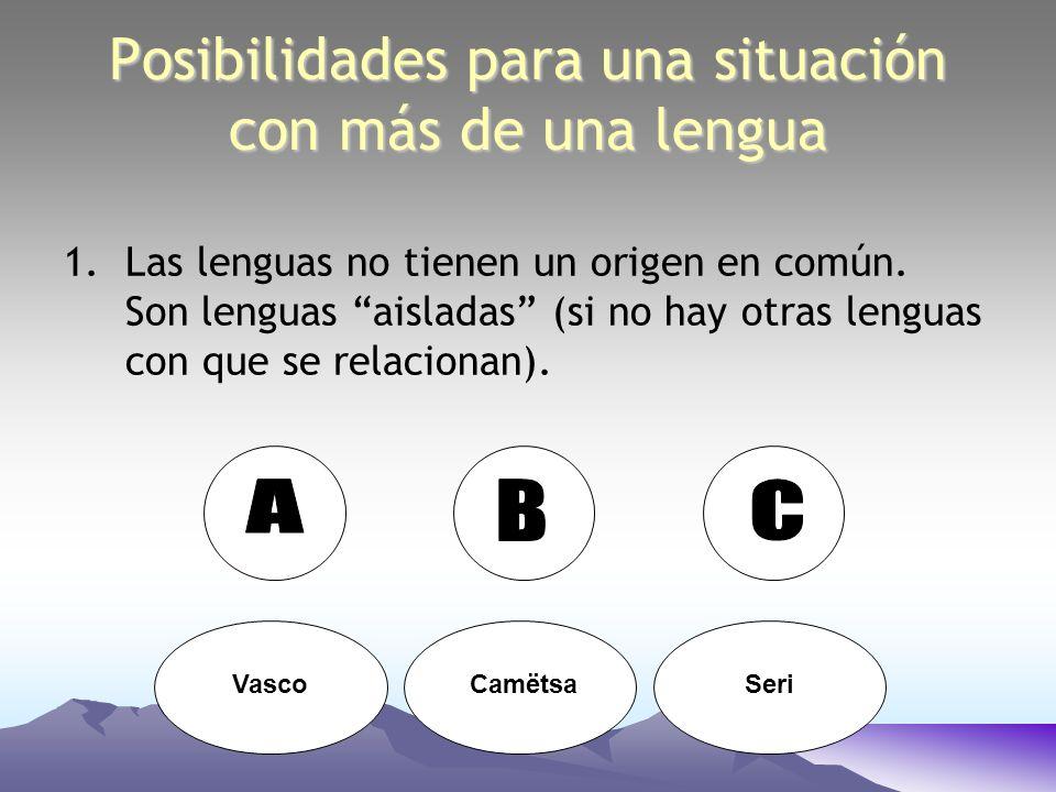 Posibilidades para una situación con más de una lengua 1.Las lenguas no tienen un origen en común. Son lenguas aisladas (si no hay otras lenguas con q
