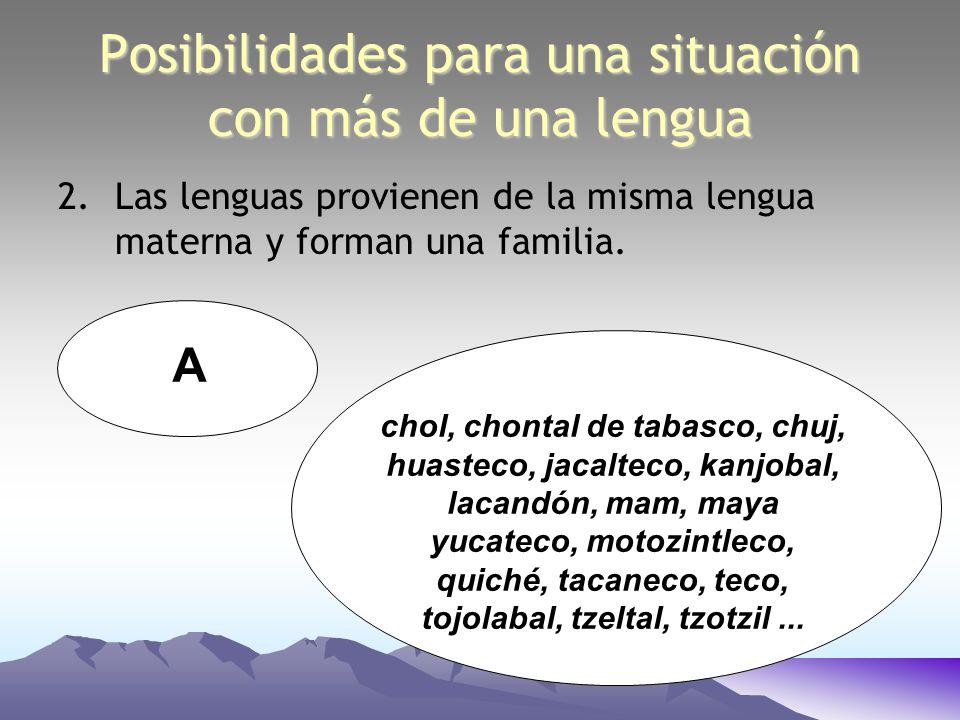 Posibilidades para una situación con más de una lengua 2.Las lenguas provienen de la misma lengua materna y forman una familia. A chol, chontal de tab