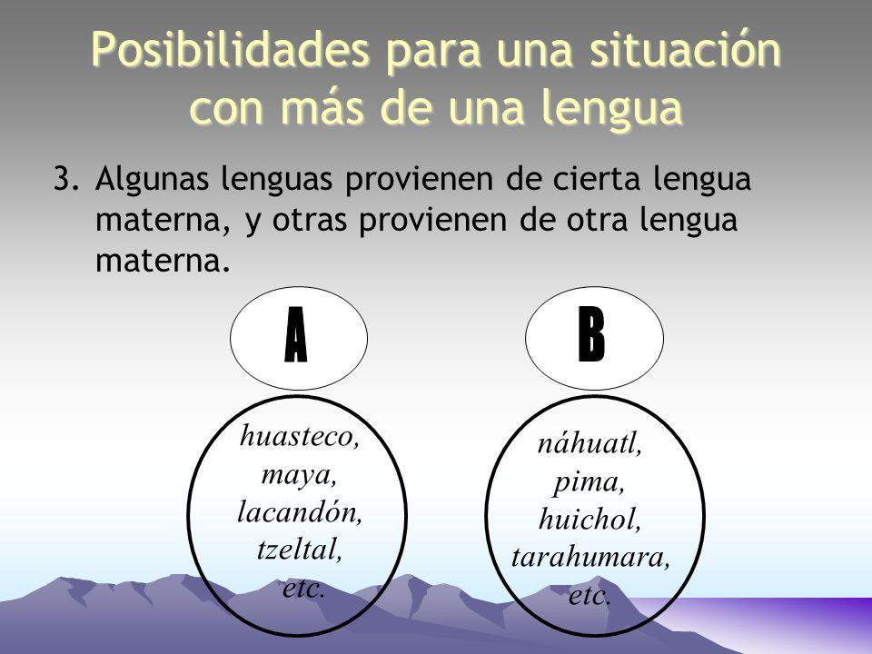 Posibilidades para una situación con más de una lengua 3.Algunas lenguas provienen de cierta lengua materna, y otras provienen de otra lengua materna.