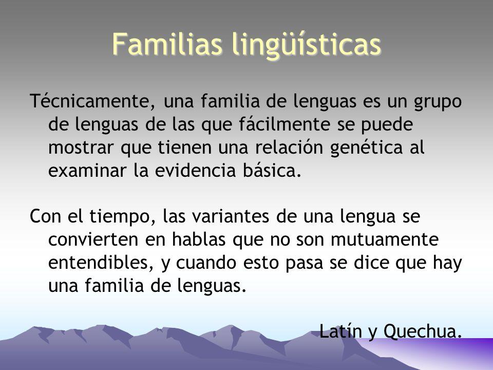Técnicamente, una familia de lenguas es un grupo de lenguas de las que fácilmente se puede mostrar que tienen una relación genética al examinar la evi