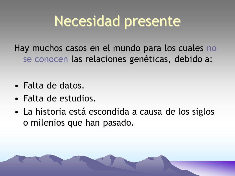 Necesidad presente Hay muchos casos en el mundo para los cuales no se conocen las relaciones genéticas, debido a: Falta de datos. Falta de estudios. L