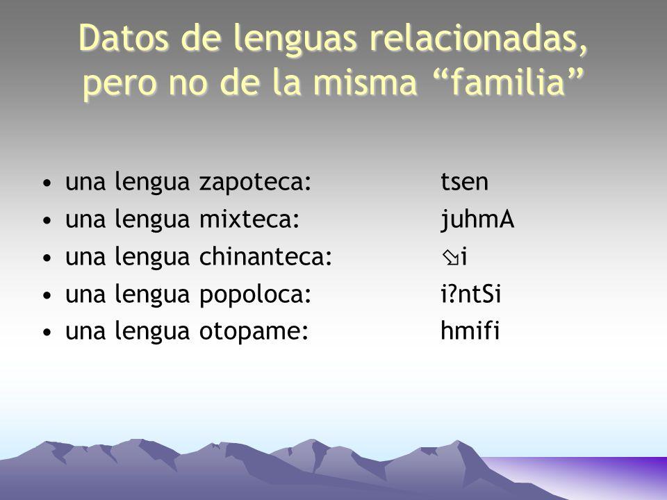 Datos de lenguas relacionadas, pero no de la misma familia una lengua zapoteca: tsen una lengua mixteca: juhmA una lengua chinanteca: i una lengua pop