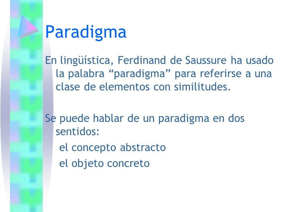 Paradigma En lingüística, Ferdinand de Saussure ha usado la palabra paradigma para referirse a una clase de elementos con similitudes. Se puede hablar