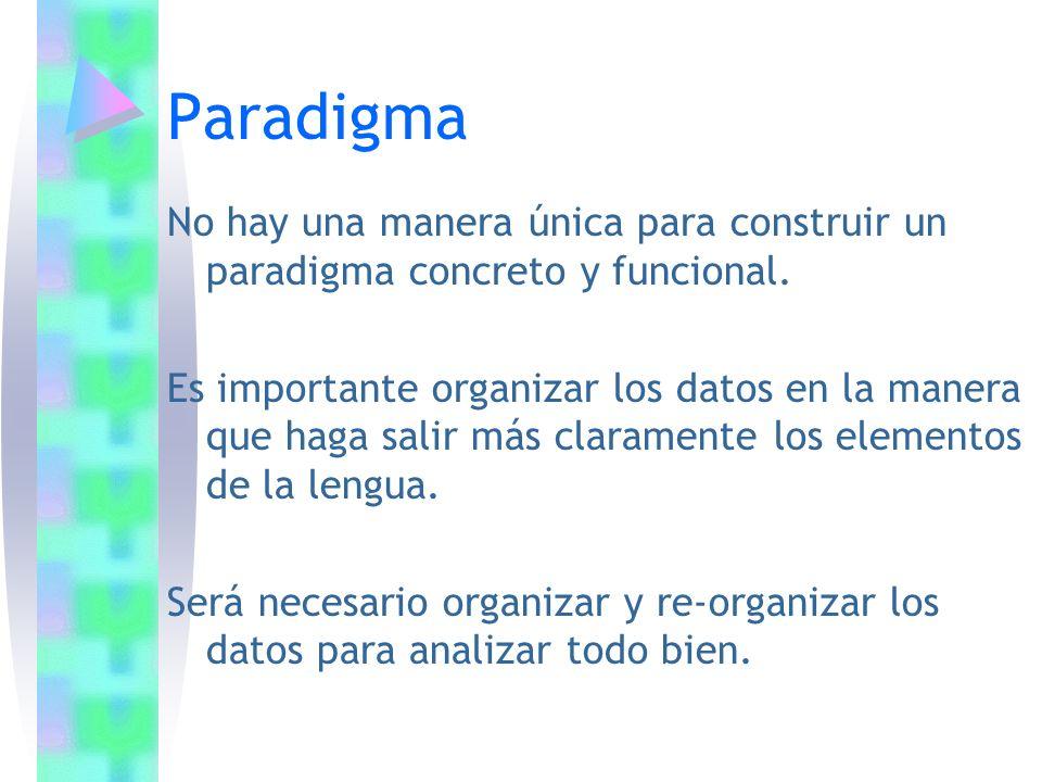 No hay una manera única para construir un paradigma concreto y funcional. Es importante organizar los datos en la manera que haga salir más claramente