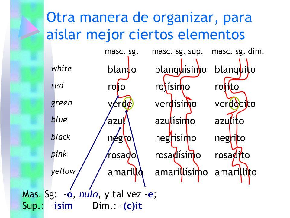 Otra manera de organizar, para aislar mejor ciertos elementos Mas. Sg: -o, nulo, y tal vez -e; Sup.: -ísim Dim.: -(c)it masc. sg.masc. sg. sup.masc. s