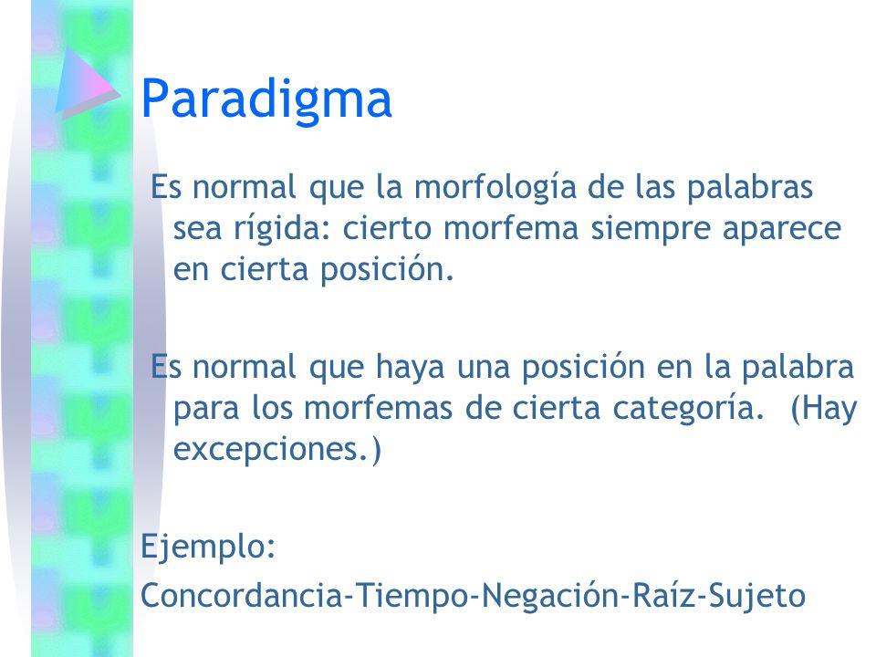 Es normal que la morfología de las palabras sea rígida: cierto morfema siempre aparece en cierta posición. Es normal que haya una posición en la palab